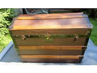 Lovely Old Travel Trunk, Dome Topped Chest.