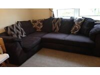 Brown Cord DFS 9ft left hand Corner Sofa