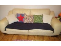 FREE Cream leather sofa and chairs - three piece suite