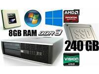 240GB SSD Drive,8GB Ram DDR3, HP PC Desktop, AMD 3.0GHz, 250GB HD, Minecraft