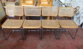 4 Marcel Breuer Wicker Dining Chairs