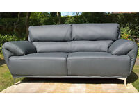 A New Enzo 2 Seater Grey Leather Sofa