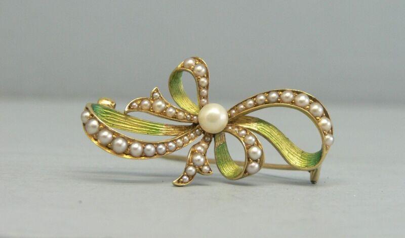 Elegant 18K Gold Enamel Pearl & Seed Pearl Pin