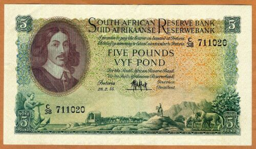 South Africa, 5 Pounds, 1955, P-96c, VF+ > 60 years old