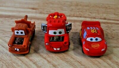 Lot Of 3 Disney/Pixar Cars Tow Mater And Lightning McQueen Toy Cars