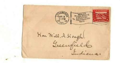LONG  BEACH PANAMA-PACIFIC EXPOSITION PROMO FLAG CANCEL 1913 ON 2c PAN PACIFIC