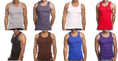 3 Or 6 Pack Mens Tank Top 100  Cotton A Shirt Lot Wife Beater Ribbed Undershirt