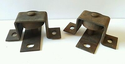 Antique Vintage Heavy Duty Industrial Cast Iron Factory Bracketed Wheels Casters