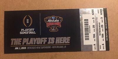 2015 Sugar Bowl Ohio State Buckeyes vs Alabama Crimson Tide Ticket stub Sm (Ohio State Buckeyes Vs Alabama Crimson Tide)