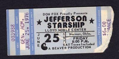 1976 Jefferson Starship Concert Ticket Stub Lloyd Noble Center Norman Oklahoma