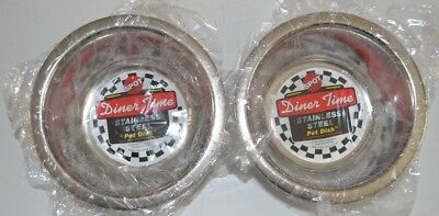 Lot Of 2 Spot Stainless Steel Mirror Bowls Dog Cat Dish 1 - 1 Pint Dog Bowls