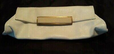 R&Y Augousti White Pebble Leather Stingray Clutch