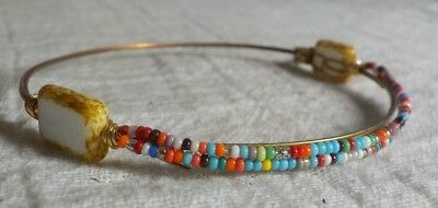 "L SIGNED COPPERTONE METAL WIRE BANGLE BRACELET MULTI COLOR BEADS 2.5"" INSIDE"