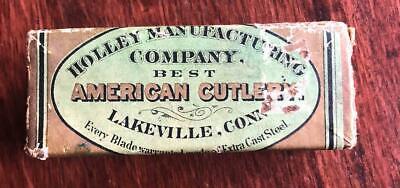 OLD ANTIQUE HOLLEY KNIFE CO LAKEVILLE CONN EMPTY POCKET KNIFE BOX