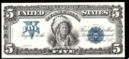 Proof Print or Intaglio by  BEP Face of 1899 $5 Silver Certificate Indian Chief