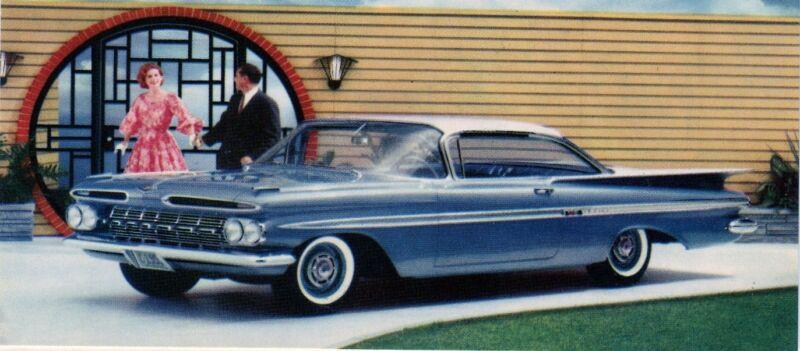1959 Chevy Impala Sport Coupe Postcard