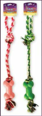 - Knotted Rope Toy with Nubby Bone - 18