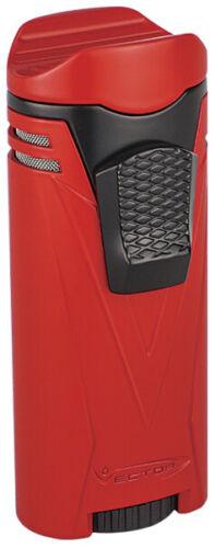 Red Matte Vector Ironquad Quad Flame Jet Torch Cigar Butane Lighter - 9310