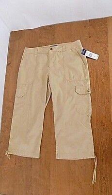 NWT Women Chaps Denim Cargo Cropped Capri pants Sz 10 Leg Draw String Beige  Denim Drawstring Capris