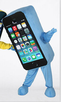 2018 Hot Adult Blue Mobile advertising Cell Phone Mascot Cosplay Costume - Cell Phone Costume