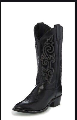 Justin Men's Black London Calf Classic Western Boots Size E11