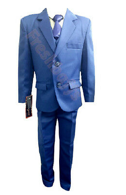 Boys Suit 2-16year 5 Piece Blue Proms First Communion Special Occassion - Communion Boys
