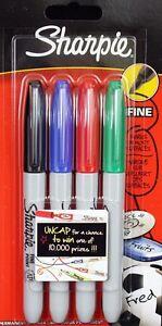 4-Sharpie-Permanent-Marker-Pens-Fine-MIXED-COLOURS