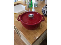 Pryrex cast iron pot in red