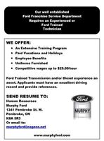 Immediate Opening for an Experienced or Ford Trained Technician