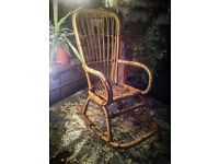 Vintage wicker bamboo rocking chair