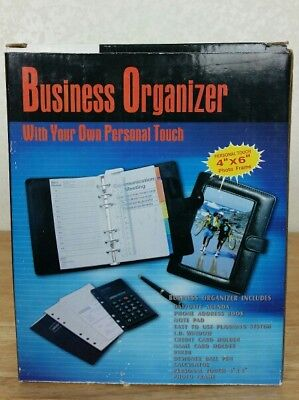 Calvin Hill Business Organizer Black Notebook Button Latch Calculator Planner