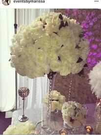 Wedding event table centrepieces trumpet vase blossom tree candleabra fishbowl chandelier HIRE only
