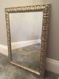 Antique style silver finish mantel mirror