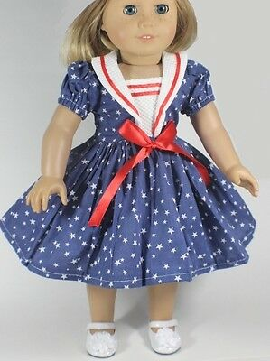 Lovvbugg Blue Stars Sailor Dress for American Girl & Baby Doll Clothes DEAL