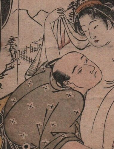 Original Japanese Woodblock Print by KATSUKAWA SHUNCHO Shunga Amorous Couple