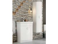 Scudo Space D Shape Vanity Pack Gloss White 600 mm + Tall Cabinet Unit