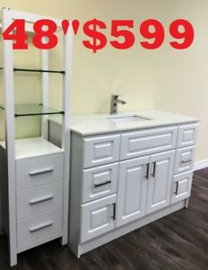 "BATHROOM VANITY 48"" $599.   SHOWER PANEL $186"
