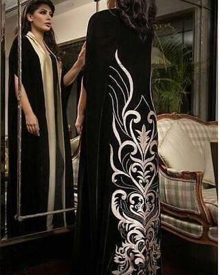 HALF OPEN Fancy Khaleeji button up Abaya Dubai Jilbab Size S, M, L, XL