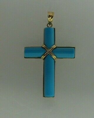 Reconstituted Turquoise Cross Pendant 14k Yellow Gold ()