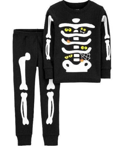 Boys Carters 2 Pc Glow in Dark Skeleton Pajamas Costume Halloween 3T 4T 5T NWT