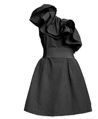 New Lanvin H&M Black Ruffle Mini Cocktail Party Dress UK8 EU34 US4 CA10