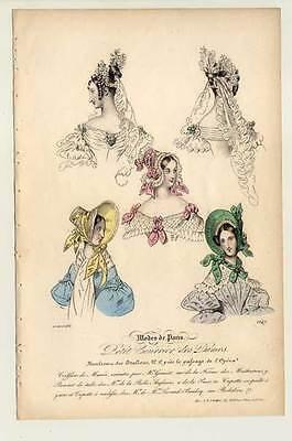 Mode-fashion print-Hüte-Frisuren - Stahlstich 1836 Petit Courrier des Dames
