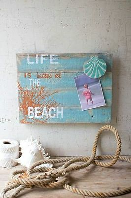 """Kalalou Painted Wooden Sign """"Life is better""""  Beach Ocean Shore Vacation House"""