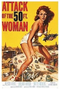 ATTACK OF THE 50 FOOT WOMAN MOVIE POSTER ~ 24x36 Allison Hayes Yvette Vickers