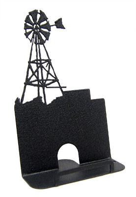 Windmill Black Metal Business Card Holder