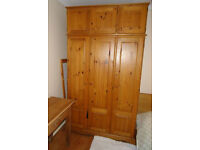 Triple Solid Pine Wardrobe with Top Box