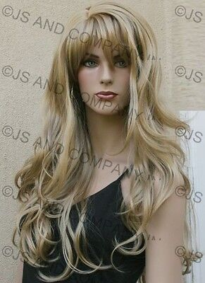 LONG Wavy Layered Solid Golden Blonde Mono skin top WIG w. bangs HSJO 24