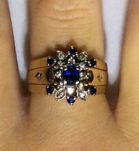 Solid 9K 375 Yellow Gold Sapphire and Diamond 3 x Ring Set Parkwood Canning Area Preview