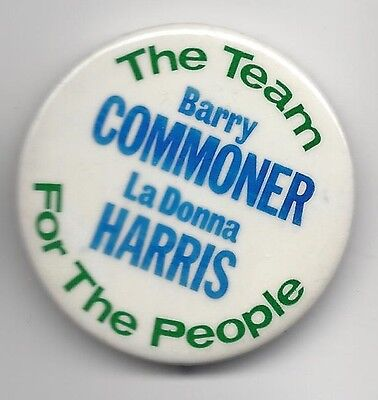 Commoner Harris 1980 Citizens Party Presidential political pin button