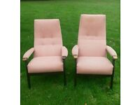 Vintage Parker knoll easy chairs high backed His & Hers with lumbar support